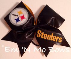 Pittsburgh Steelers Cheer Bow  by emNmoBows on Etsy, $20.00