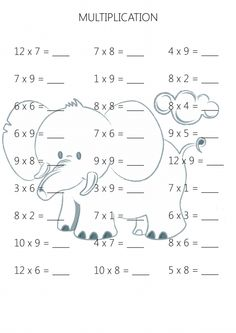 Simple multiplication is a skill that your child will build upon; Math For Kids, Fun Math, Math Activities, English Worksheets For Kindergarten, 3rd Grade Math Worksheets, Multiplication Practice Sheets, Cool Math Tricks, Math Drills, Math School