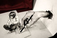 23. Iza Nagi – Hand and boy - The artist often depicts characters from anime culture rendered in 3D. Here is a realistic combination of a hand and a crouching boy.