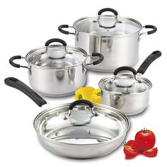 Cook N Home 8 Piece Stainless Steel Cookware Set with Encapsulated Bottom, Large, Silver * Be sure to check out this awesome product.