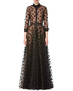 W0G0F Carolina Herrera Illusion Polka Dot Tulle Trench Gown, Black