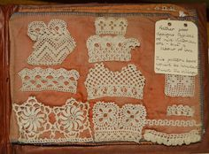 Page from a handmade book of crochet samples, with accompanying label by Miss Rachel  paper, cotton thread  mid-late 19th century