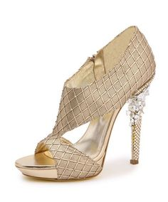 Versace - Leather sandals with gold heel processed metal mesh decorated with stones.