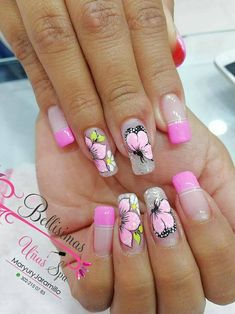 Unas d Pretty Nail Designs, Nail Art Designs, French Nails, Spring Nails, Summer Nails, Pink White Nails, Fail Nails, One Stroke Nails, Butterfly Nail