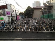 Bike parking in Fussa, Japan.