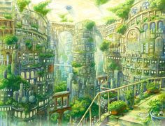 Domed Green City - Kemi Neko (click thru for larger image) Fantasy City, Fantasy Places, Fantasy World, Anime Places, Fantasy Art Landscapes, Futuristic City, Scenery Wallpaper, Anime Scenery, Cool Art