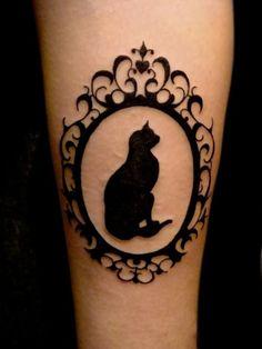 cat silhouette tattoo, frame, simple, classy tattoo, cat  profile portrait, shadow tattoo
