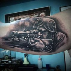 Bicep Sniper US Army Tattoo Designs Men