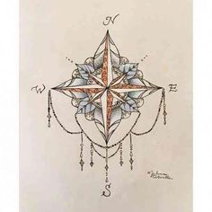 Colorful compass tattoo with jewels. compass tattoo 50 Simple & Elegant Tattoo Ideas For Women Mandala Tattoo Design, Dotwork Tattoo Mandala, Underboob Tattoo, Mandala Compass Tattoo, Women Sternum Tattoo, Geometric Tattoo Lotus, Tattoo Abstract, Compass Tattoo Design, Tatoo 3d