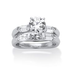 Palm Beach Jewelry PalmBeach 3.15 TCW Cubic Zirconia Platinum over Sterling Silver Squared Bridal Engagement Wedding Band Set Classic CZ