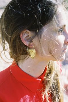 Deco Earrings | Etched Brass with light patina | Olivia Terrell Jewelry
