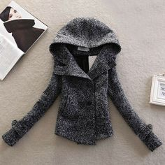 Leisure Double Breast Solid Color Hood Short Worsted Coat