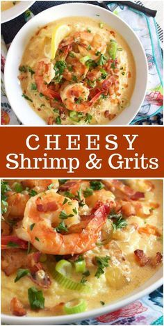 Cheesy Shrimp and Grits - - The best Shrimp and Grits recipe- super creamy and cheesy! Best Shrimp And Grits Recipe, Shrimp And Cheesy Grits, Shrimp N Grits, Charleston Shrimp And Grits Recipe, Seafood Dishes, Seafood Recipes, Gourmet Recipes, Healthy Recipes, Easy Recipes