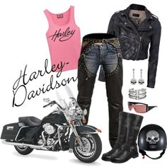 A fashion look from January 2013 featuring Rock'N Blue jackets, Harley-Davidson boots and DANNIJO bracelets.