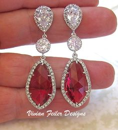 Wedding Earrings Red Bridal Jewelry CZ Fuchsia Ruby Bling Statement Earrings Prom
