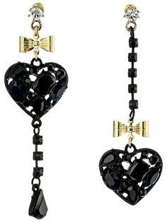 Betsey Johnson Black Hearts Heart Non-Matching Earrings