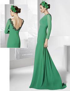 Traje de fiesta largo color verde menta en gasa.