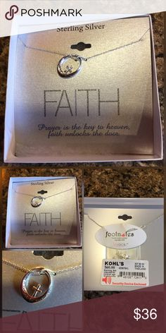 """Gorgeous Sterling Silver """"Faith"""" Necklace Gorgeous Sterling Silver """"Faith"""" Necklace...I am unsure of the length of the chain, I would have to open the package on the back. Footnotes Jewelry Necklaces"""