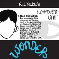 Wonder Unit Palacio R.J. Novel Teaching Package  NOVEL: Wonder by R.J. Palacio LEVEL: 5th - 12th TOTAL: 189 slides/pages  >>> MEETS COMMON CORE STANDARDS <<<  CONTENTS:  * WONDER Pre-reading Bias Intro Activity - answer thematic questions to get students thinking about the novel - 1-page wonder -ful activity - CCSS.ELA-Literacy.RL.2  * WONDER Mr.