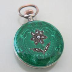 Antique-Guilloche-Enamel-Green-Flower-Seed-Pearl-Silver-Swiss-Pocket-Watch