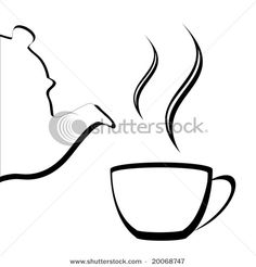 vector of teapot and cup