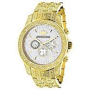 Iced Out Luxurman Mens Diamond Watch 1.25ct Yellow Gold Tone