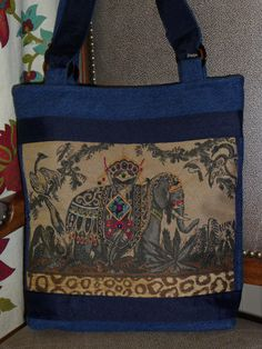 Beaded Elephant Decorator Fabric Denim Handbag by KCThreads, $43.00