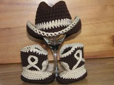 Newborn Baby Crochet Cowboy Hat & Boots Photo Prop
