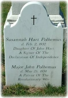 Daughter of John Hart, one of the signers of the Declaration of Independence.