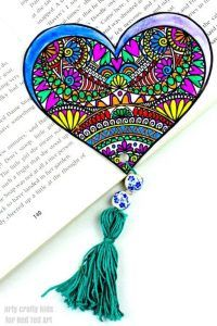 Heart Bookmark coloring page - Red Ted Art's Blog