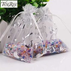 FENGRISE 100Pcs 7x9 9x12cm Wedding Favors and Gift Bag Organza Candy Valentines Day Drawstring Birthday Party Decoration Wrap