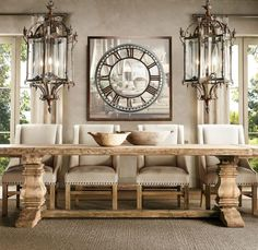 Salvaged wood trestle table from Restoration Hardware - Decoist home decore Luxury Dining Room, Dining Room Design, Dining Rooms, Casa Magnolia, Shabby Chic Dining, Elegant Dining, Extension Dining Table, Farmhouse Table, Rustic Table