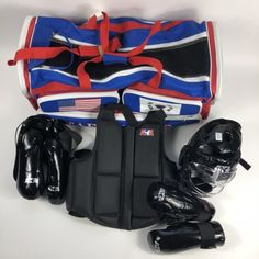 ATA Martial Arts Karate Taekwondo Sparring Gear And Bag Set 00208f0e498fa