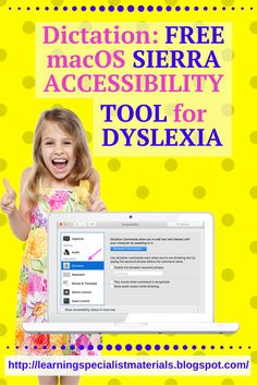 Learning Specialist and Teacher Materials - Good Sensory Learning: How to Use Dictation on Mac and the Benefits for Students with Dyslexia.  You can also access a FREE Download and a FREE demonstration.