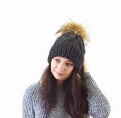 Double Brim Knit Slouchy Hat with Large Fur Pom Pom   The Zoe by Avaneska on Etsy
