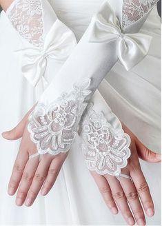 In Stock Elegant Ivory Satin Elbow Length Fingerless Wedding Gloves