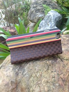 leather wood bamboo flip case