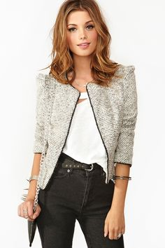 Chained Tweed Jacket via Nasty Gal