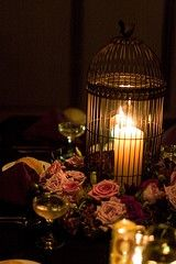 birdcage centerpiece (would prefer to use a lantern), different flowers