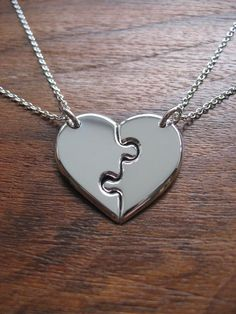 Two Best Friends Heart Pendant Necklaces on Wanelo