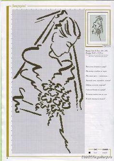 0 point de croix mariée - cross stitch bride