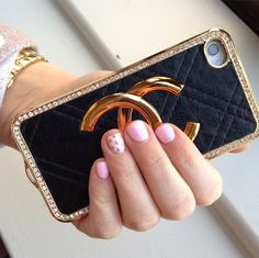 My fun studded mani and 'Chanel' iphone case
