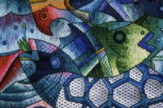 """Handwoven Peruvian Tapestry by Maxmio Laura """"Abundance Fruit from the Sea IV"""" 120 x 120 cm, Tapestry Art"""