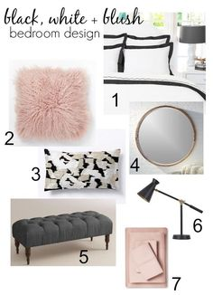 Pull together a fresh new look using black, white and blush in your master bedroom! Apartment Master Bedroom, Pink Master Bedroom, Black Gold Bedroom, Blush Bedroom, Pink Bedrooms, Bedroom Green, White Bedroom, Master Bedrooms, Diy Bedroom Decor