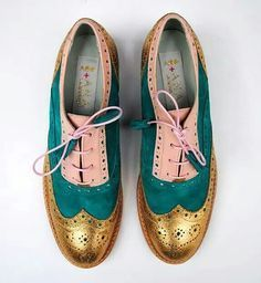 ABO + Ana Ljubinkovic gold, green, powder color brogues #shoes #brogues #oxfords #oxfordshoes