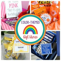 Next time you need a fun gift for someone for a birthday, as a thank you, or just for fun, try one of these color-themed gifts! These gift basket ideas are all themed with one color and feature a cute and punny gift tag to match. Youll have as much fun putting them together as your recipient will have receiving them! #giftideas #birthdaygift #colorgift