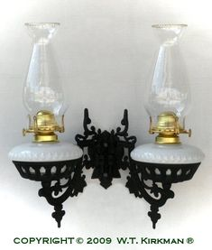 Dual Cast Iron Bracket Oil Lamp at W.T. Kirkman Oil and Electric Lanterns