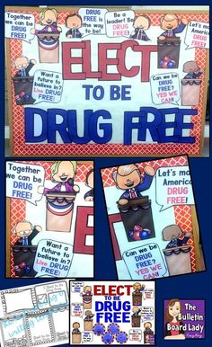 Looking for decorations for a bulletin board or your door for Red Ribbon Week? This bulletin board works for elementary or high school.  Turn it into an activity by using the student coloring or writing templates enclosed.  ELECT TO BE DRUG FREE  Download and let the fun begin!