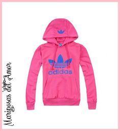 Mariposas del Amor | Sudadera rosa con letras azules, con estampa en la capucha y por la parte baja de la espalda