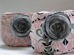 pink + gray clutches